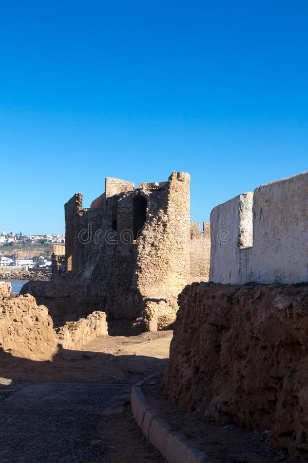 Castle fortress in Safi, Morocco. Details of the architecture of the historical portuguese fortress castle Dar el Bahar, located at the coastline of Atlantic stock photography