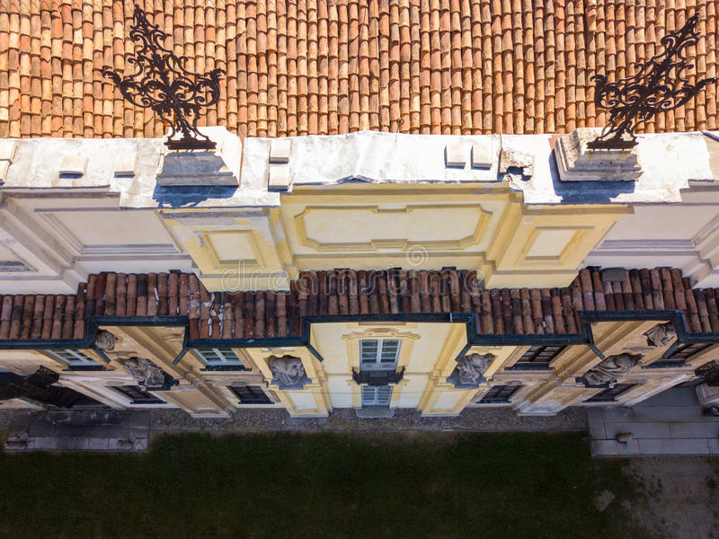 Details of the Arconati villa, statue windows and balconies. Villa Arconati, Castellazzo, Bollate, Milan, Italy. Aerial view royalty free stock photos