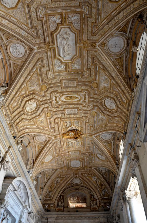 Details of the art inside the St. Peter`s Basilica in Vatican stock image