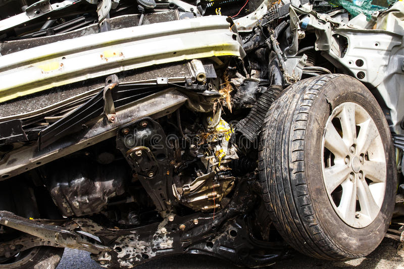 Details of the auto accident. Collision damage to the front tire royalty free stock photos