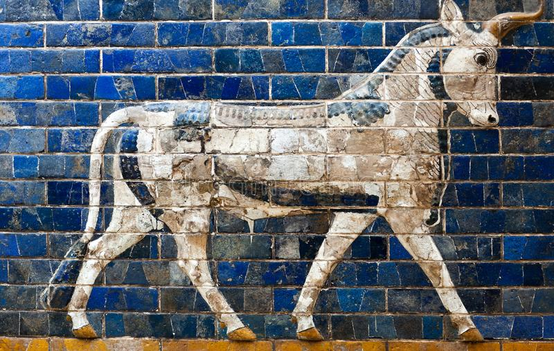 Details of the Babylonian Ischtar Tor stock photography