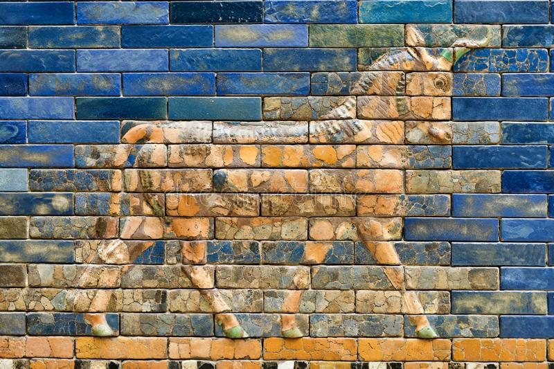 Details of the Babylonian Pergamon  Ishtar Gate Walls royalty free stock photo