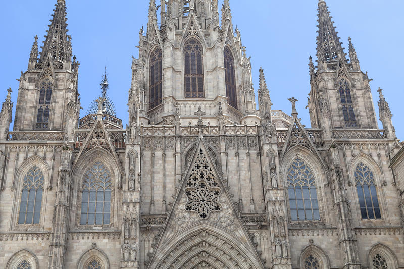 Details of Barcelona Cathedral in Gothic Quarter, Spain royalty free stock images