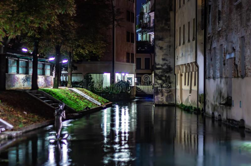 Details of the beautiful Treviso.  The historic center of the city, still enclosed by Renaissance walls, largely retains the typic. Details of the beautiful royalty free stock photography