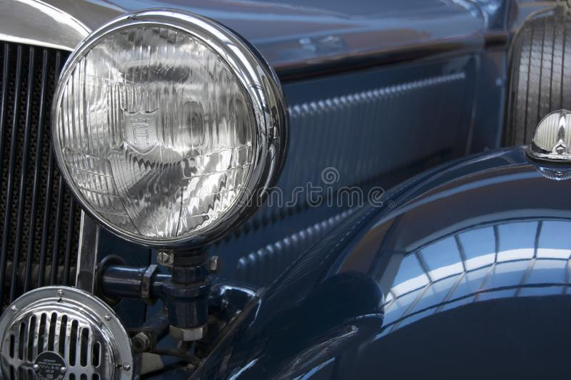 From oldtimer photo series: close-up of a blue oldtimer. Format-filling stock photos