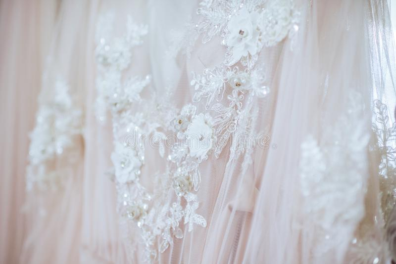 Details of the bride dress fabric royalty free stock images