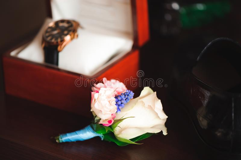 Details of the bridegroom`s wedding image. Details of a wedding. stock photo