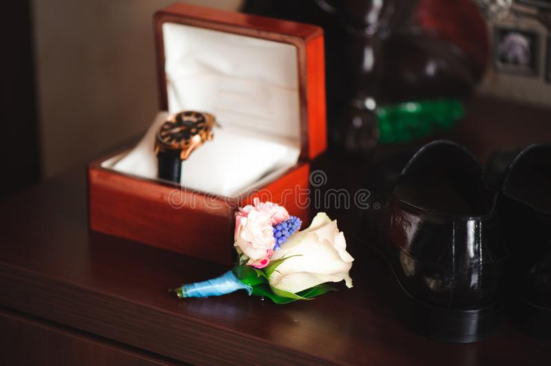 Details of the bridegroom`s wedding image, lifestyles. royalty free stock image