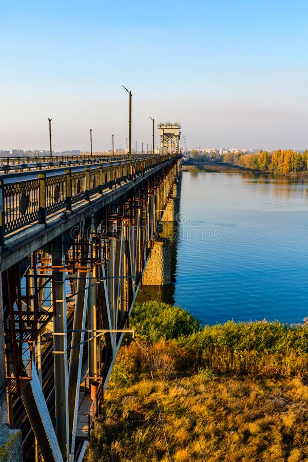 Details of the bridge across the river Dnieper in Kremenchug, Ukraine. Details of the bridge across river Dnieper in Kremenchug, Ukraine royalty free stock images