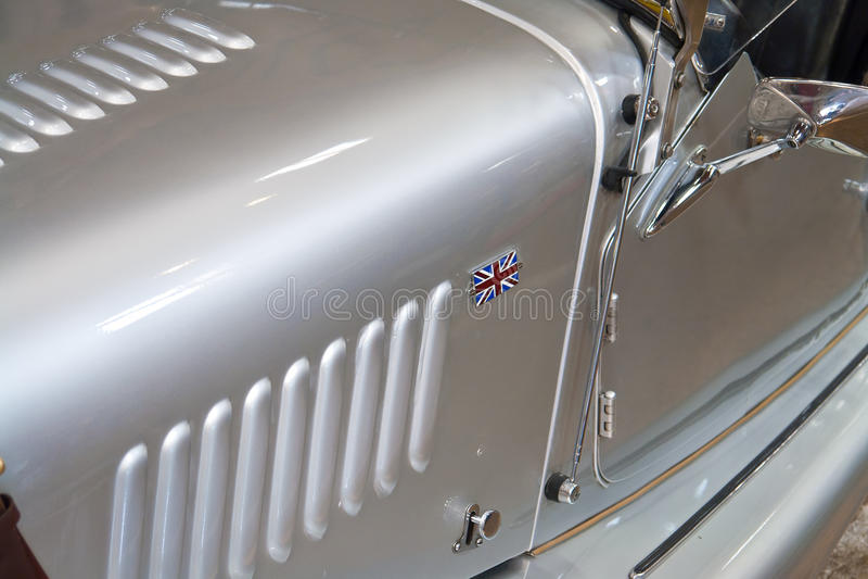 Details of British classic sports car Union Jack stock photos
