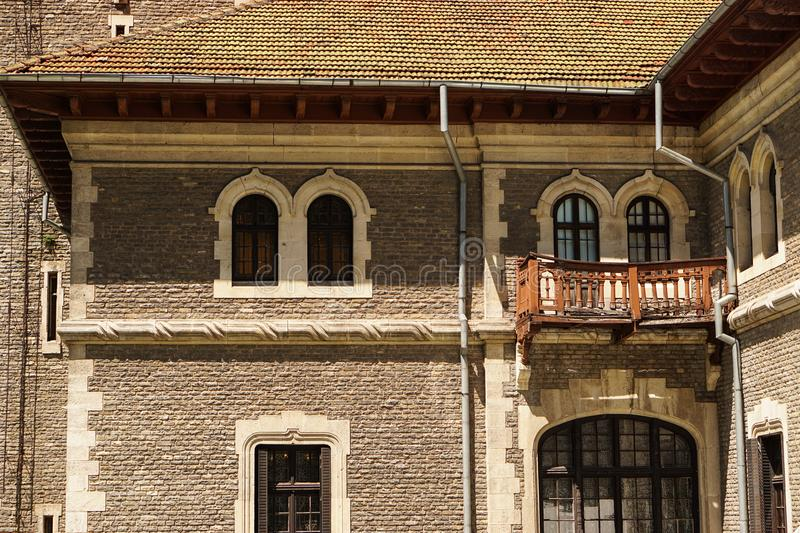Details of Cantacuzino Castle - Busteni, Romania stock images