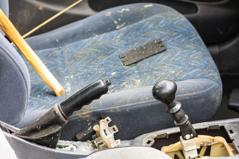 Details of a car an accident stock images