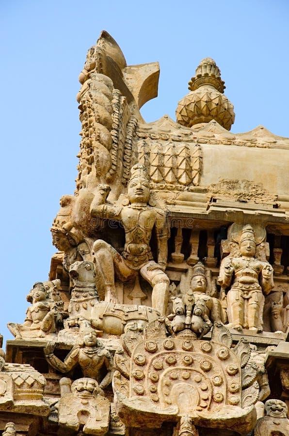 Details of carved Gopuram of Airavatesvara Temple, Darasuram, near Kumbakonam, Tamil Nadu, India. Details of carved Gopuram of Airavatesvara Temple, Darasuram royalty free stock image