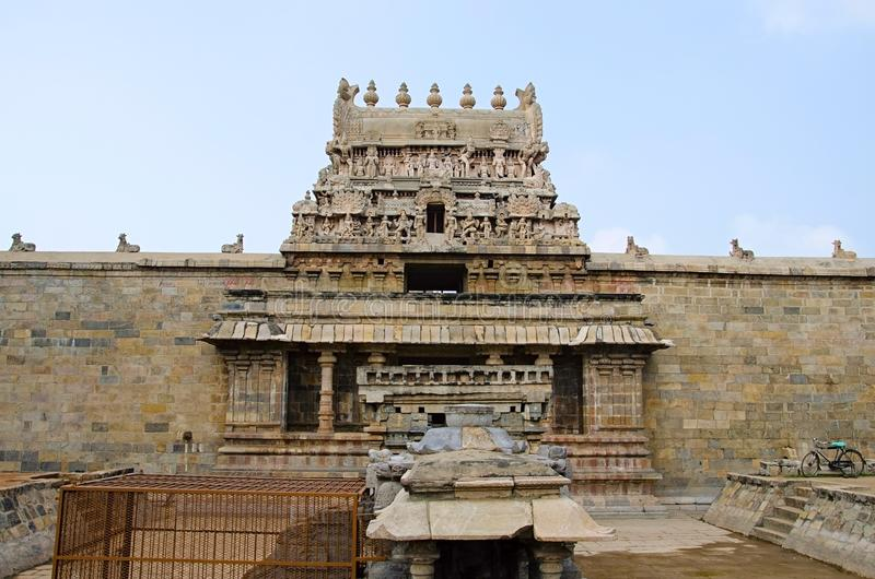 Details of carved Gopuram of Airavatesvara Temple, Darasuram, near Kumbakonam, Tamil Nadu, India. Details of carved Gopuram of Airavatesvara Temple, Darasuram stock images