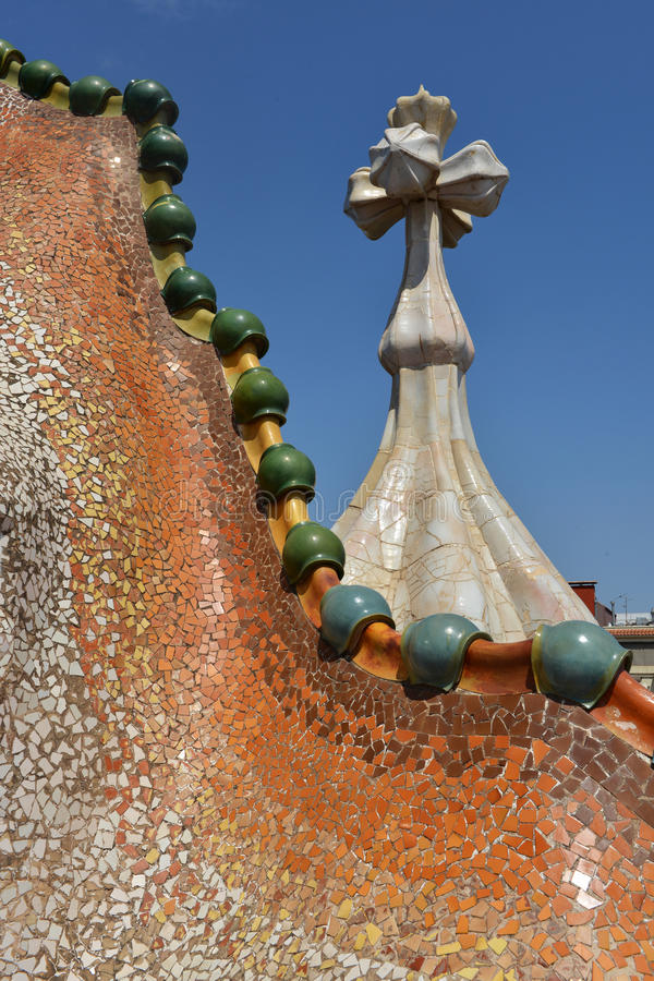Details of Casa Batllo in Barcelona, Spain. Details of Casa Batllo on the roof, Barcelona, Spain royalty free stock photo