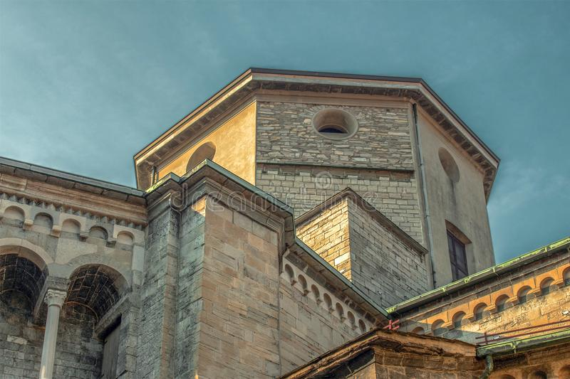 Details of the cathedral in Como, Lombardy, northern Italy. The last Gothic cathedral built in Lombardy. The building is a harmonious mix of different styles stock images