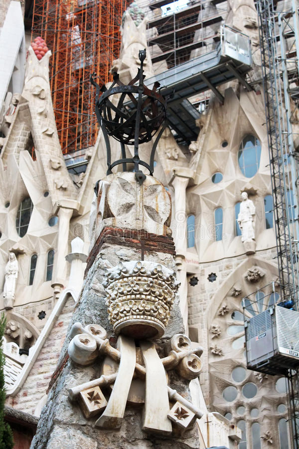 Details of cathedral Sagrada Familia in Barcelona stock image