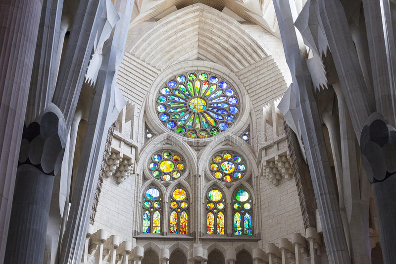 Details of church Sagrada Familia, Barcelona, Spain. BARCELONA, SPAIN - MAY 13, 2016 :Sagrada Familia : Basilica and Expiatory Church designed by Spanish royalty free stock images
