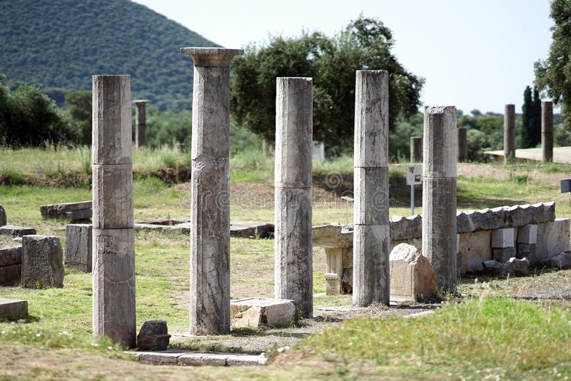 Details of columns in the ancient archaeological site of Messini, in southern Peloponnese stock photography