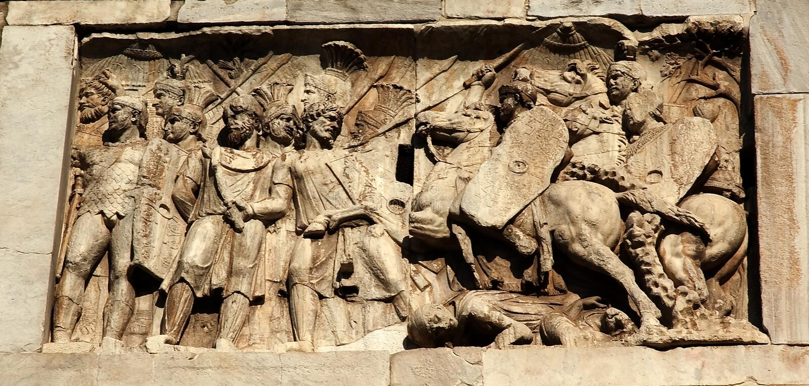 Details Constantine Arch Roman Soldiers Rome stock image