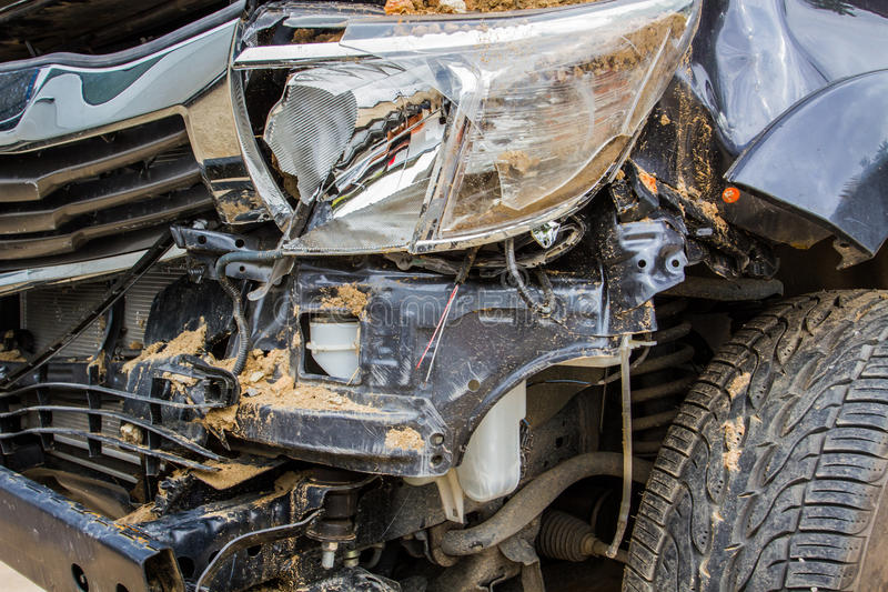 Details of a crash car an accident. stock photo