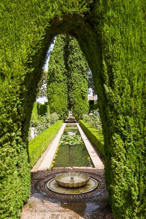Details in de tuinen van Generalife in Alhambra Granada, S royalty-vrije stock foto