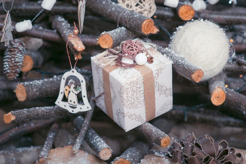 Details decor of the New Year decoration. Christmas Ideas. Instagram effect stock images