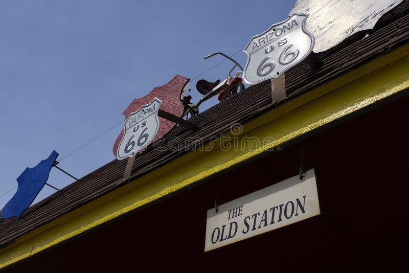 Details der alten Tankstelle entlang der historischen Strecke 66 in Williamsville lizenzfreies stockbild