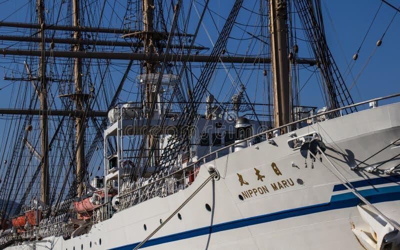 Details der Ausrüstung und Takelung des japanischen Segelschiffs Bewohner von Nippon Maru 1984 im Hafen von Beppu Oita-Pr?fektur, stockfotos