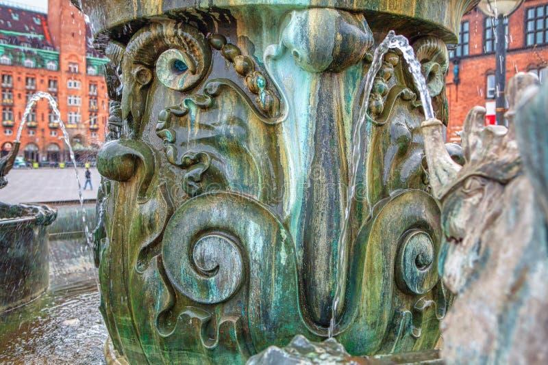 Details des Brunnens in Kopenhagen stockbilder