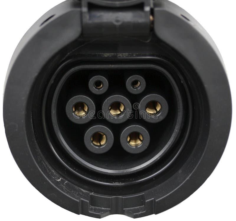 Details des Kontaktes für die Aufladung von elektrischen Fahrzeugen lizenzfreie stockfotografie