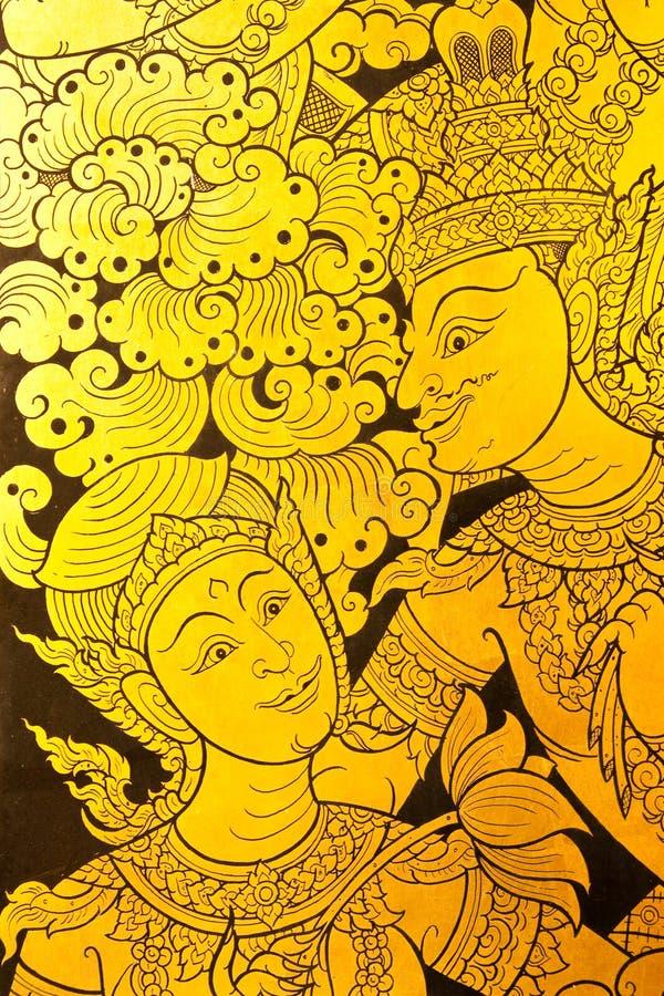 Details des siamesischen Türanstriches der traditionellen Art. stockfotos