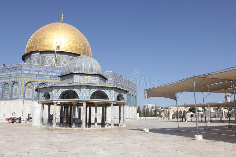 Details of Dome of Rock in the Temple Mount in Jerusalem stock photo