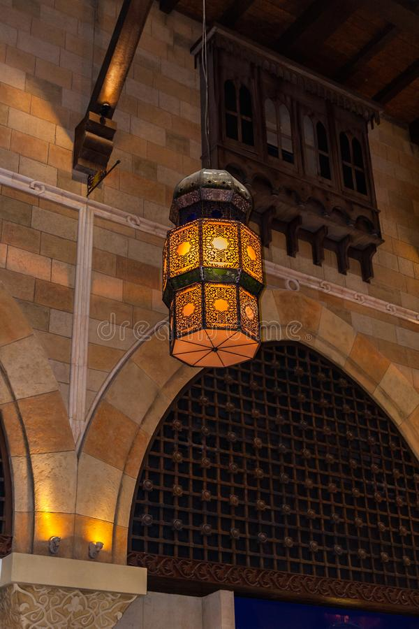 Details of eastern architecture, a stylish lamp in the interior stock photos