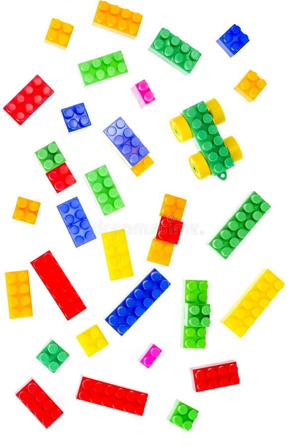 Details en elementen van de stuk speelgoed plastic de kleurenontwerper van de kinderen stock afbeelding