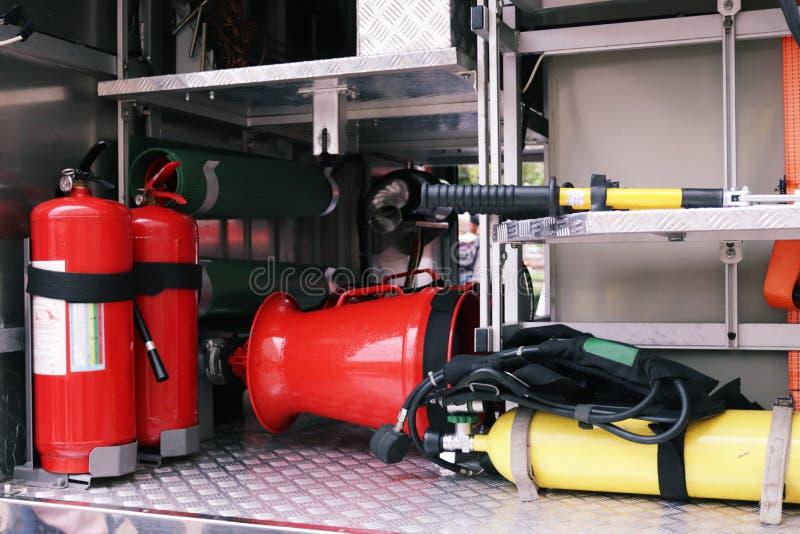 Details en structuur van de brandvrachtwagen stock foto