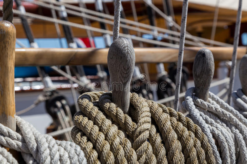 Details equipment of ship on deck stock image