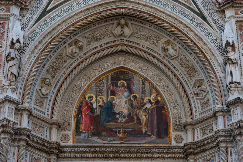 Details of the exterior of the Cattedrale di Santa Maria del Fiore Cathedral of Saint Mary of the Flower. stock image