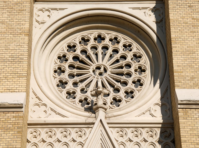Details of facade of cathedral Name of Mary Church in Novi Sad. In the central Square in downtown of Novi Sad there is a monumental building of the cathedral royalty free stock image