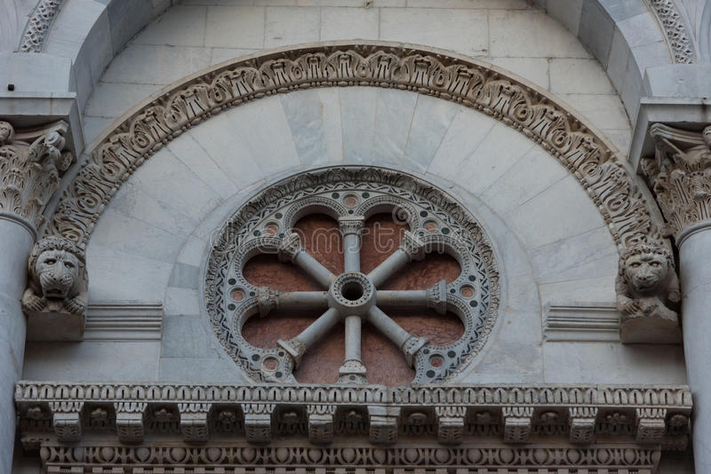 Details of the facade of Church San Michele in Foro Saint Michael in Lucca, Italy. royalty free stock images