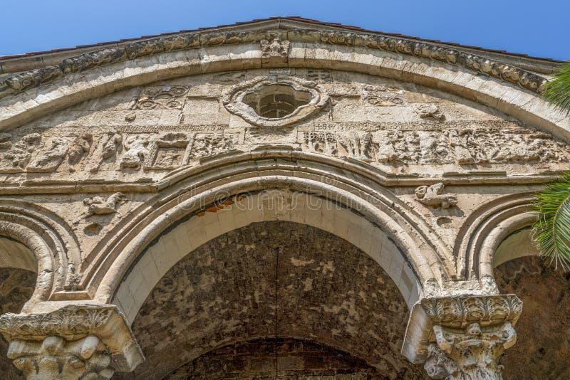 Details on facade of Hagia Sophia Ayasofya Church in Trabzon, Turkey royalty free stock images