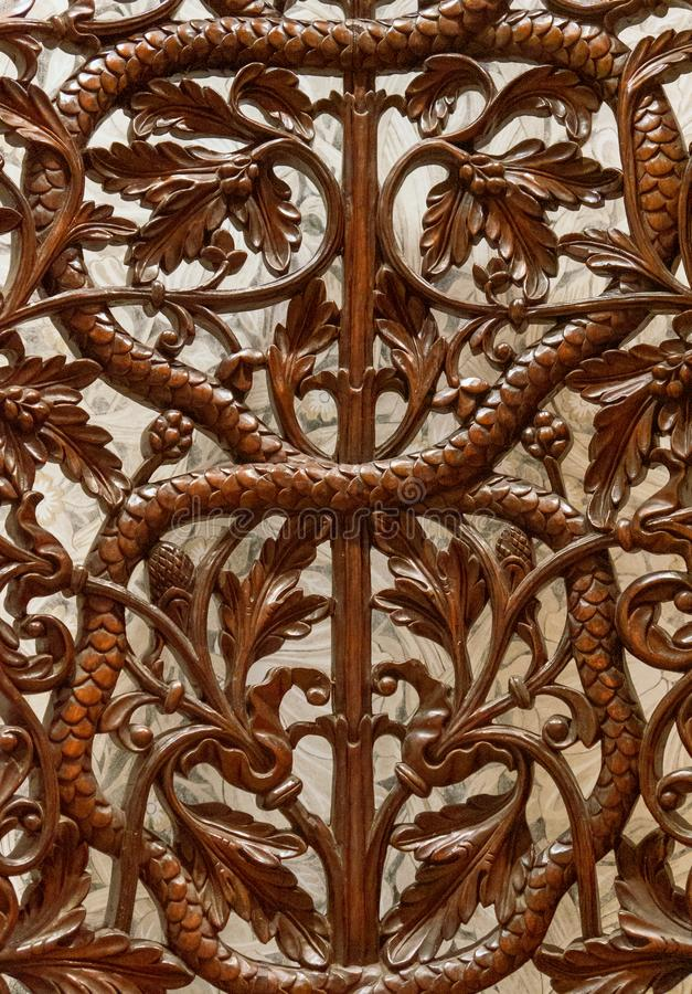 Details of a fine wood carving art. An Islamic art and craft royalty free stock photography