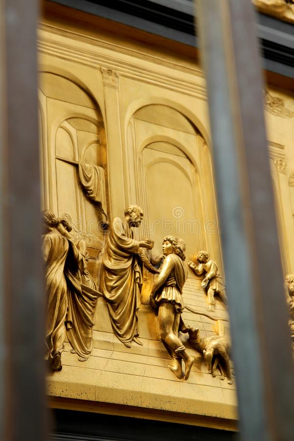 Detail of the Doors of Paradise in Battistero di San Giovanni, Florence, Italy. Details of the Florence Baptistery Battistero di San Giovanni Gates of Paradise royalty free stock photography