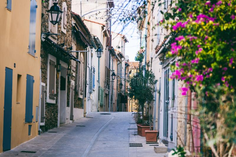 Details of French Provencal architecture, narrow streets in Sain. T Tropez, France, Cote d`Azur, Provence stock photography