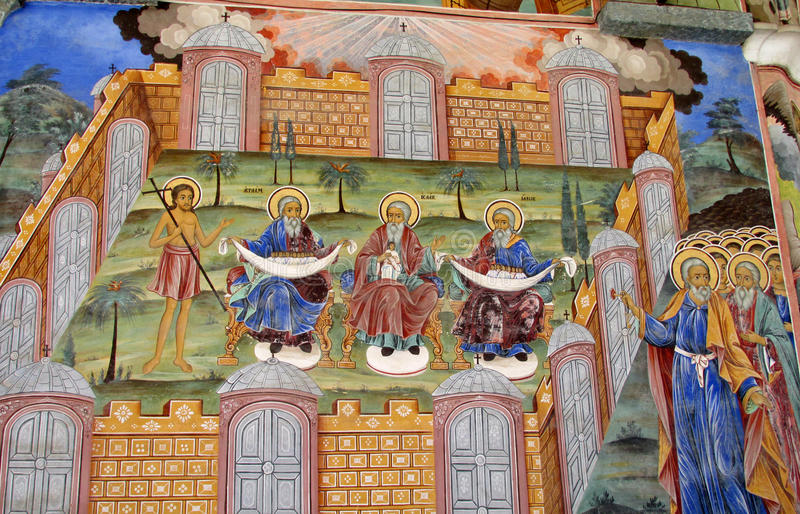 Details of a fresco and Orthodox icon painting in Rila Monastery church in Bulgaria royalty free stock photos