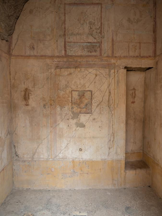 Roman frescos in Pompeii, Italy. World Heritage List. Details of frescos in rooms of ruined Roman villa in the ancient Roman city of Pompeii, near modern Naples royalty free stock photography