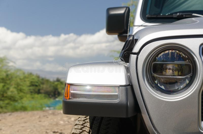 Details of front exerior of a jeep parked near Wailalea stock photos