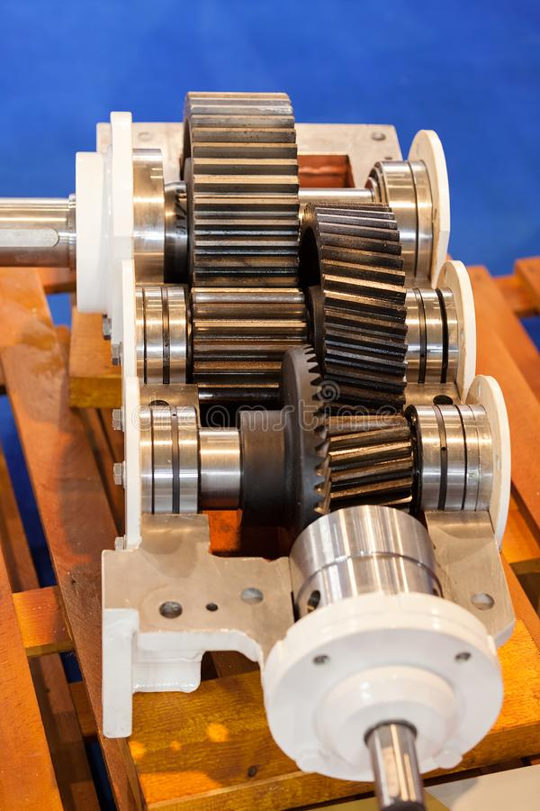 Gear parts detail. Details of gear machines in closeup stock photo