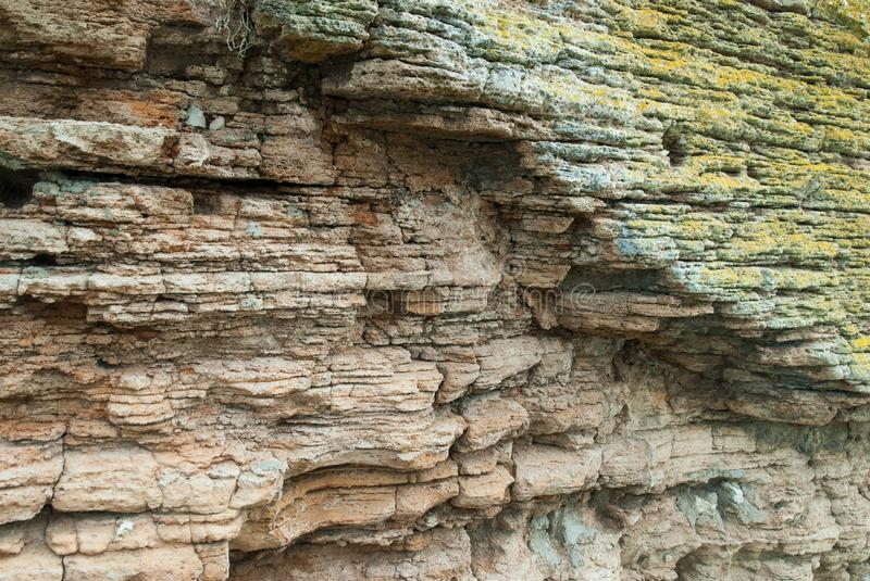 Details of geological formation of limestone layers stock images