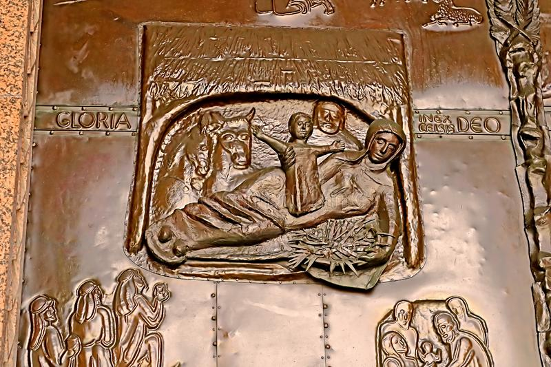 Details of the giant bronze door at the Basilica of the Annunciation, Nazareth royalty free stock images